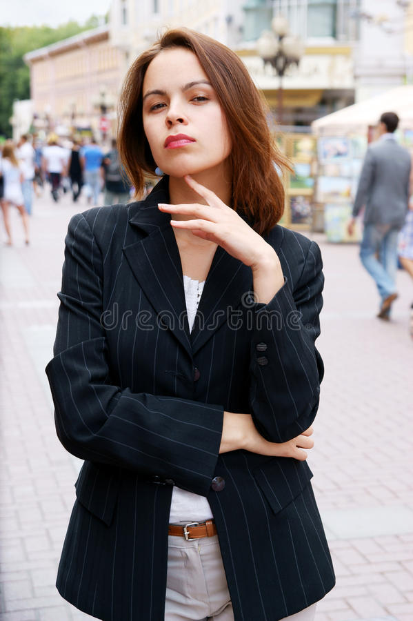 Young pretty girl in the street stock images