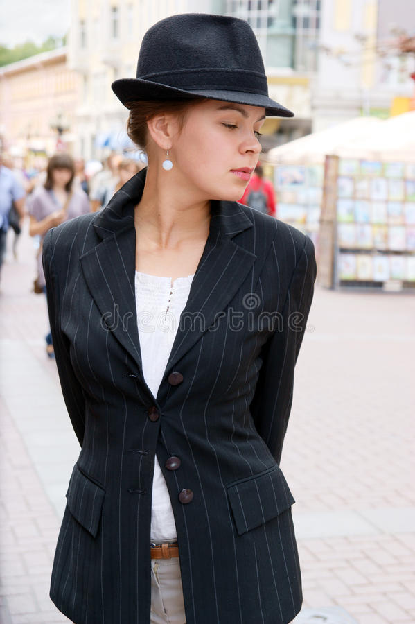 Young pretty girl in the street royalty free stock image