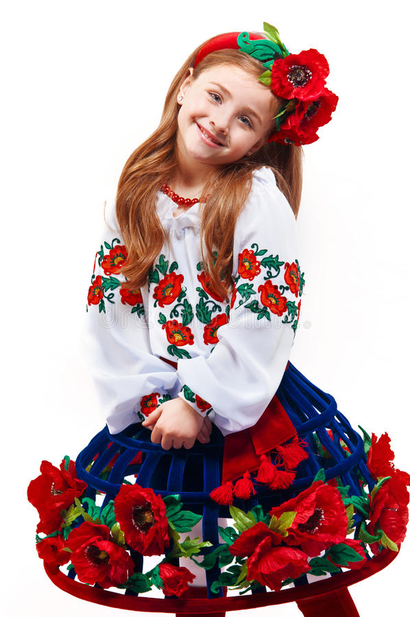young pretty girl in a ukrainian national costume stock. Black Bedroom Furniture Sets. Home Design Ideas