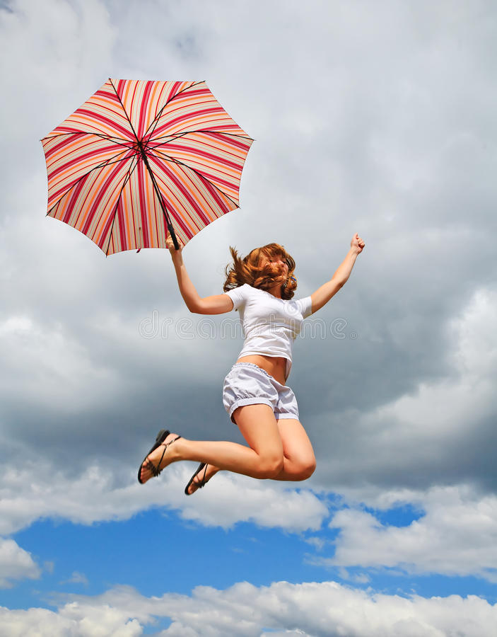 Download Young Pretty Girl With Umbrella Stock Image - Image: 12801863
