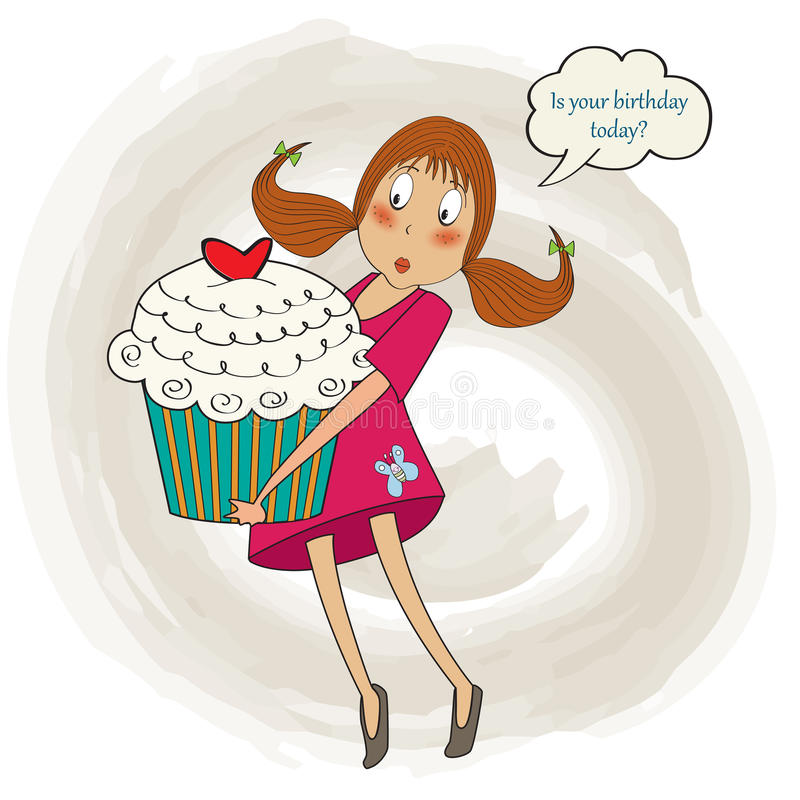 Young pretty girl who carries a big cake, birthday greeting card stock illustration