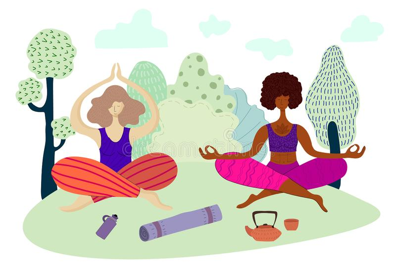 Yoga girls vector Set. Young pretty girls are meditating in the lotus position and doing yoga in the park, outdoors, European and African American doing sports stock illustration