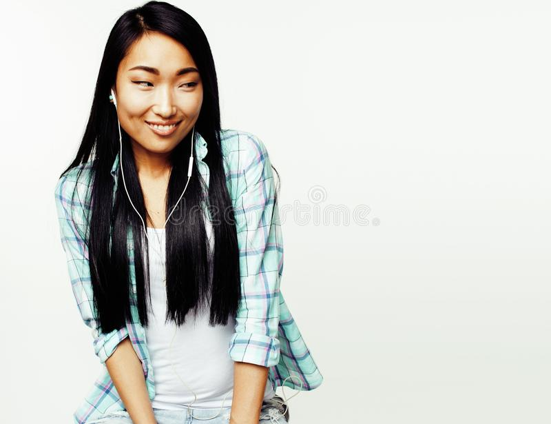 Young pretty long hair asian woman happy smiling emotional posin. G isolated on white background, lifestyle people concept close up royalty free stock photography