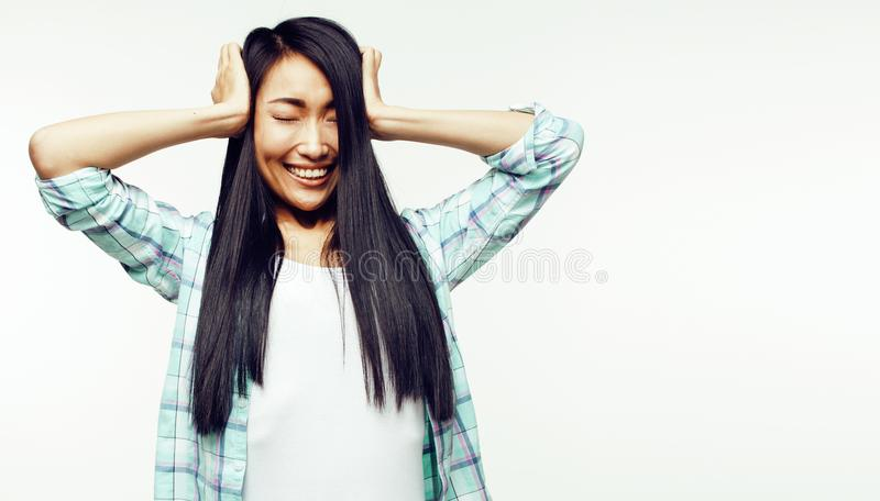 Young pretty long hair asian woman happy smiling emotional posin. G isolated on white background, lifestyle people concept close up stock images