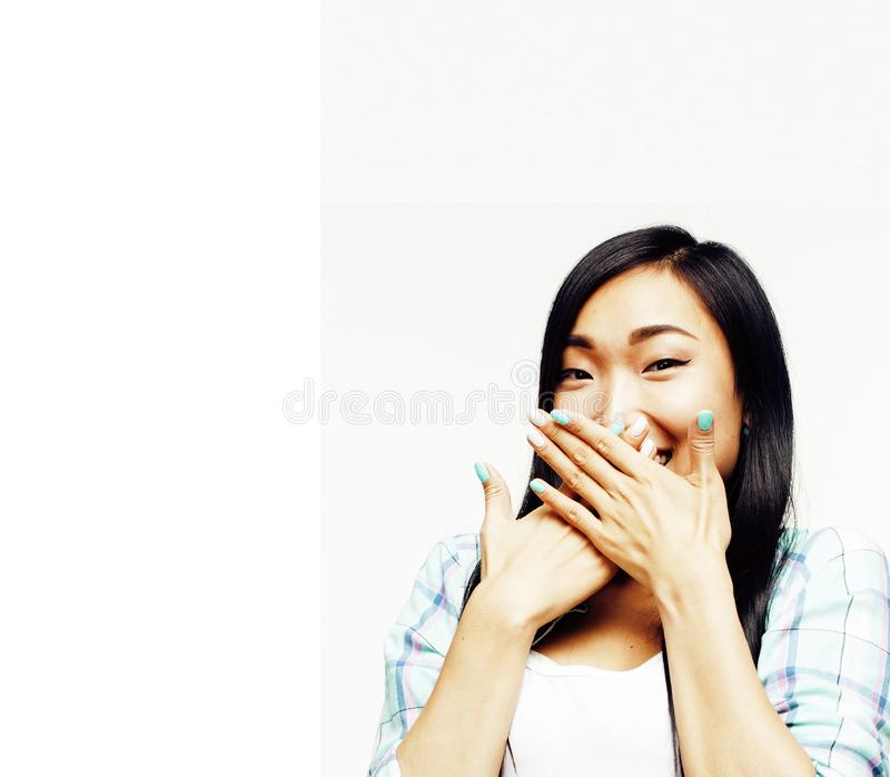 Young pretty long hair asian woman happy smiling emotional posin. G isolated on white background, lifestyle people concept close up stock photos