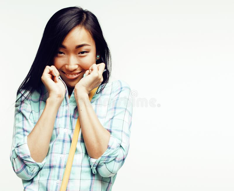 Young pretty long hair asian woman happy smiling emotional posin. G isolated on white background, lifestyle people concept royalty free stock image