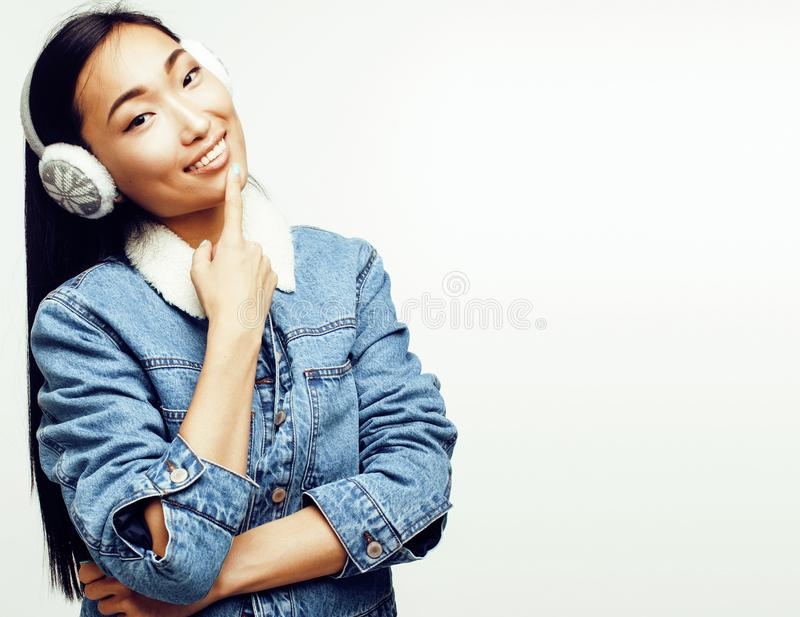 Young pretty long hair asian woman happy smiling emotional posin. G on white background, lifestyle people concept close up royalty free stock photography