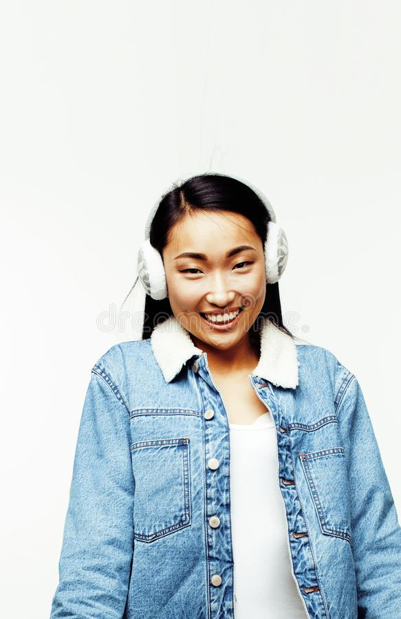 Young pretty long hair asian woman happy smiling emotional posin. G isolated on white background, lifestyle people concept close up royalty free stock images