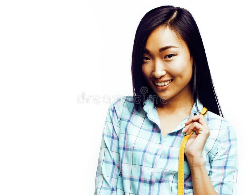Young pretty long hair asian woman happy smiling emotional posin. G on white background, lifestyle people concept stock images