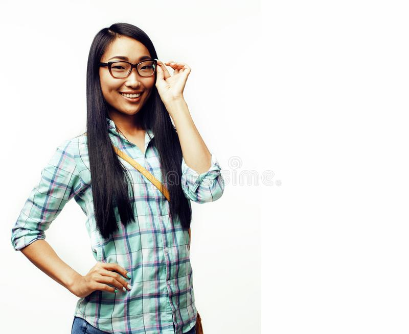 Young pretty long hair asian woman happy smiling emotional posin. G isolated on white background, lifestyle people concept close up stock photography