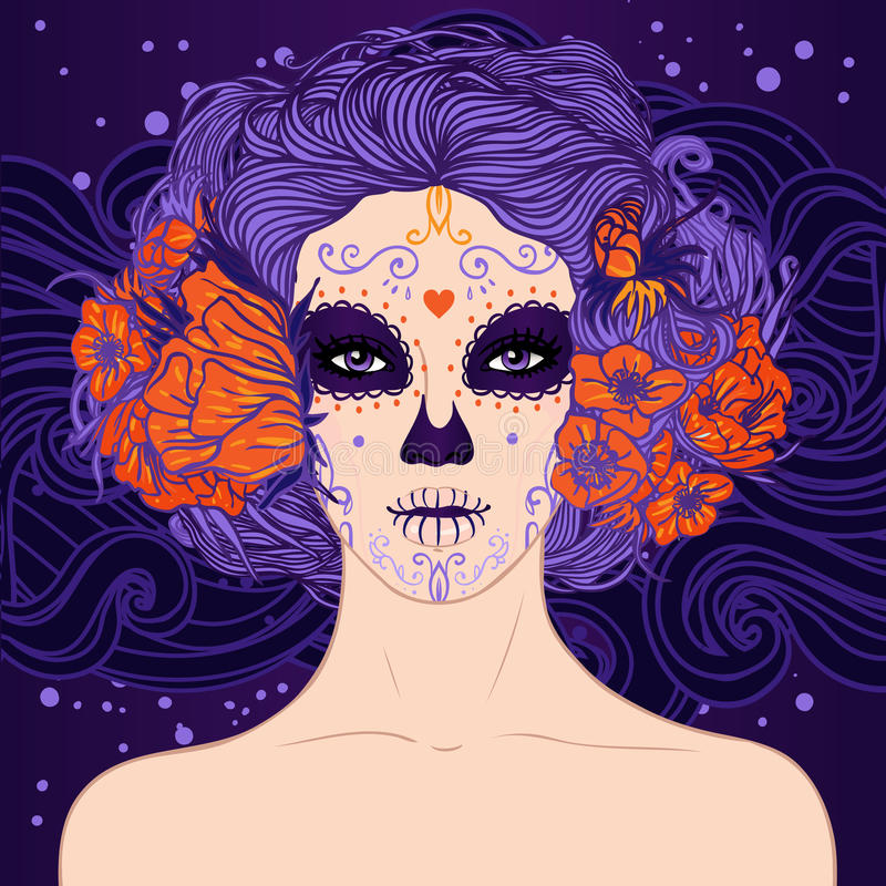 Young pretty Mexican Sugar Skull girl stock illustration
