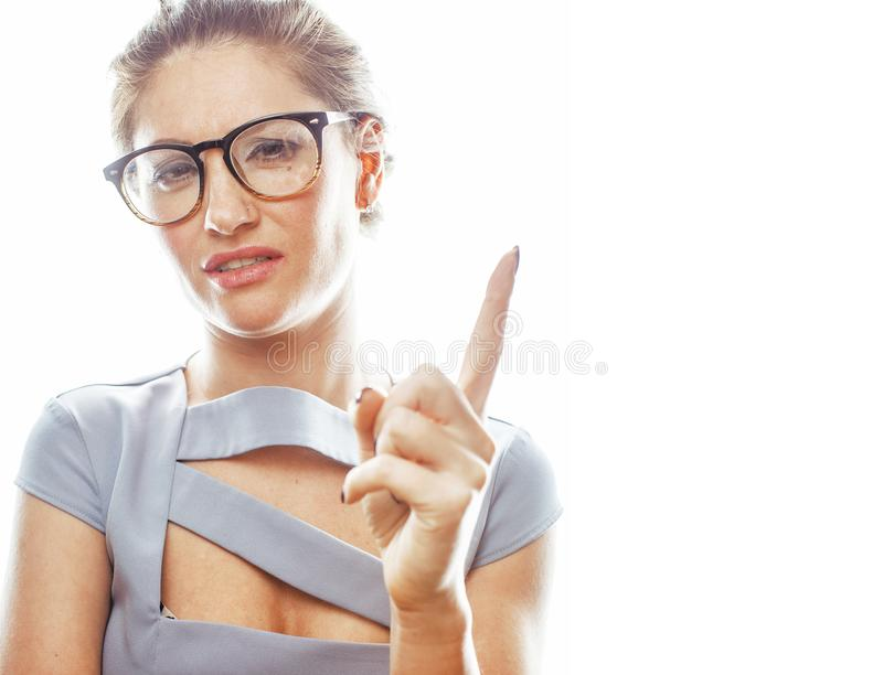Young pretty real brunette woman secretary in dress wearing. Glasses isolated on white background pointing gesturing emotional cheerful lady close up stock photos