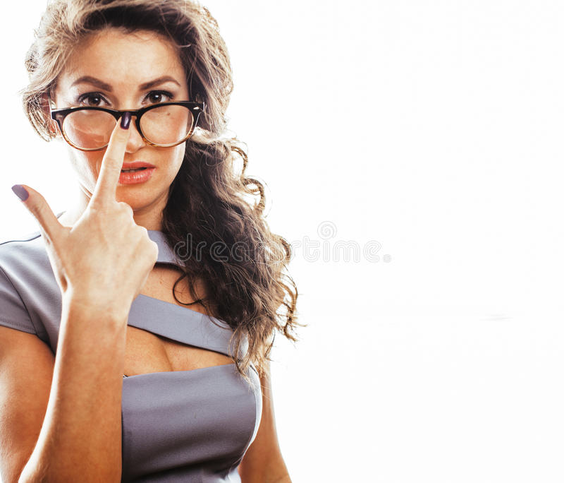 Young pretty real brunette woman secretary in dress wearing. Glasses isolated on white background pointing gesturing emotional cheerful lady close up stock images