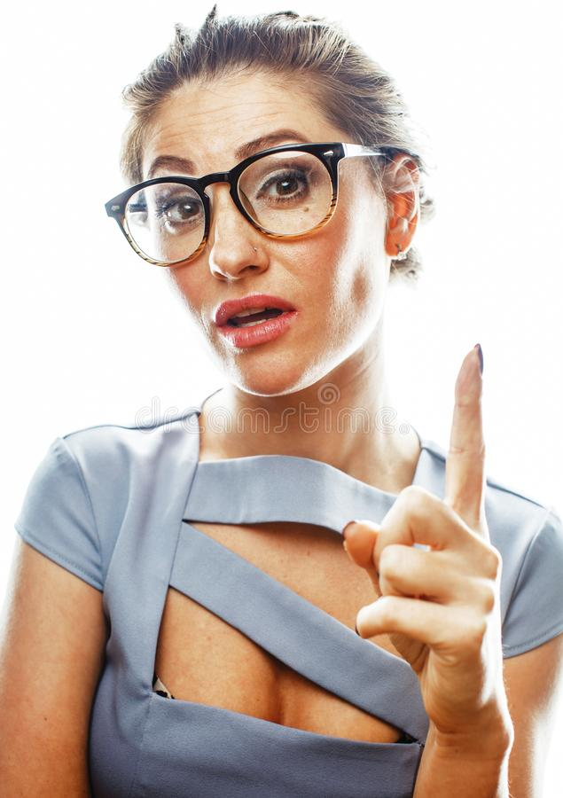 Young pretty real brunette woman secretary in dress wearing. Glasses isolated on white background pointing gesturing emotional cheerful lady close up royalty free stock image