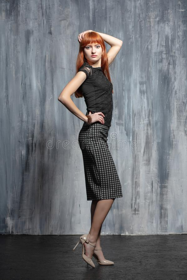 Free Young Pretty Redhead Lady Posing In Studio Royalty Free Stock Photos - 162121048