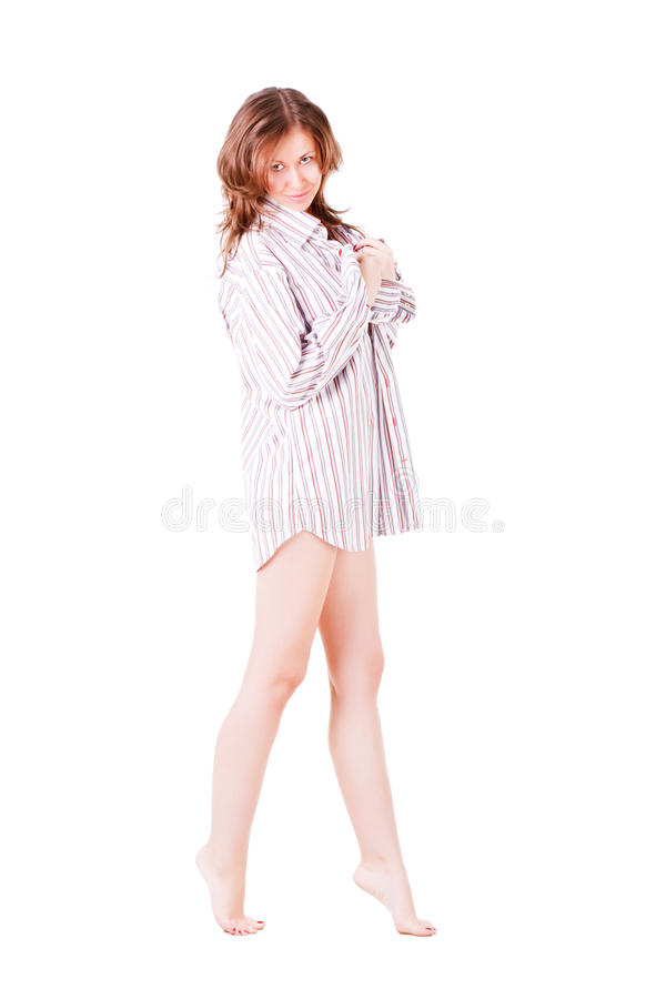 Young pretty seductive in shirt royalty free stock photos