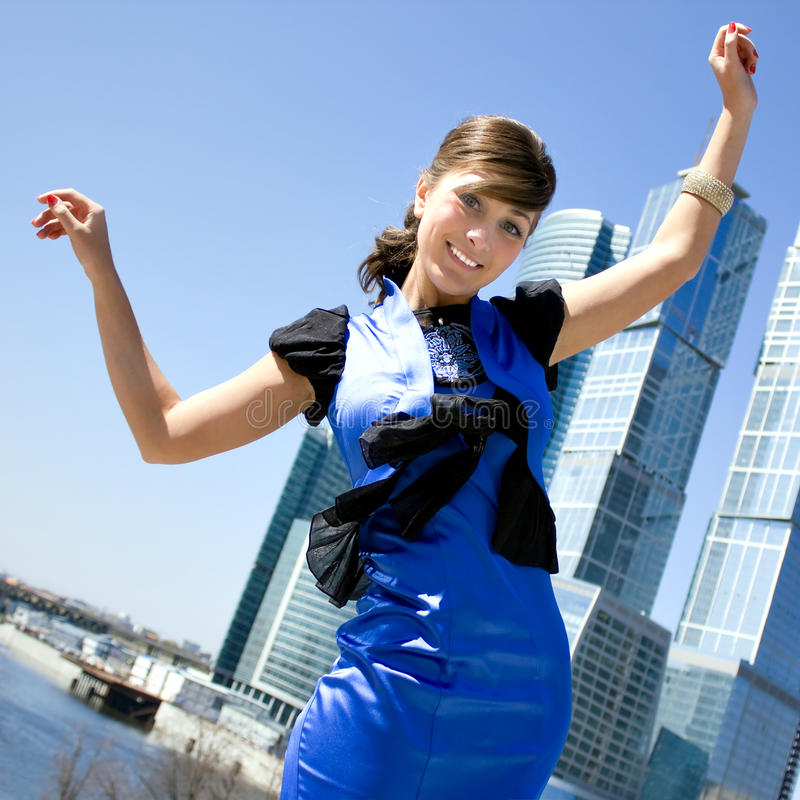 Young pretty smiling business woman royalty free stock photo