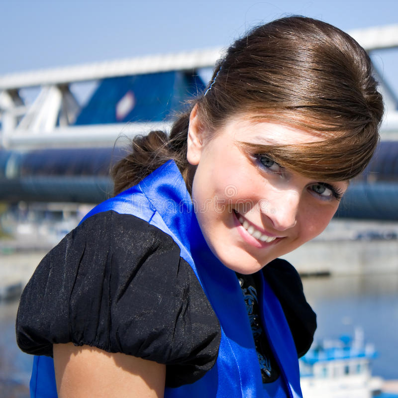 Young pretty smiling business woman stock image