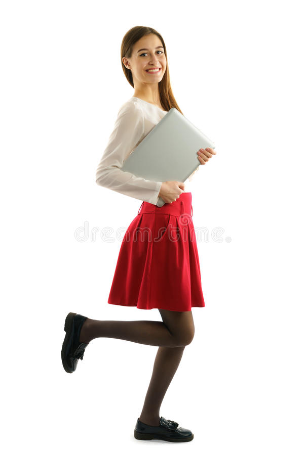 Young pretty student girl run stock photos