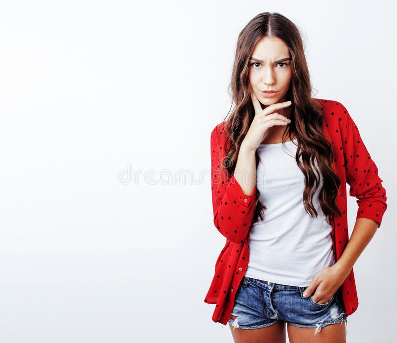 Young pretty stylish hipster girl posing emotional isolated on w stock image