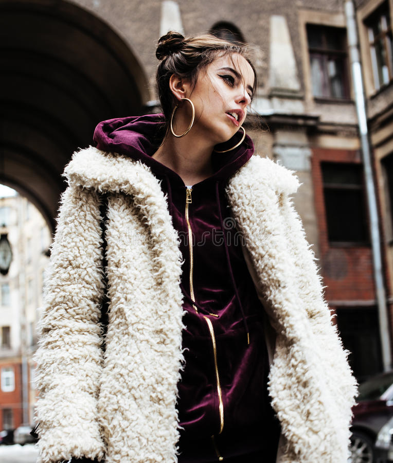 Free Young Pretty Stylish Teenage Girl Outside At City Wall With Graf Stock Photography - 83977862
