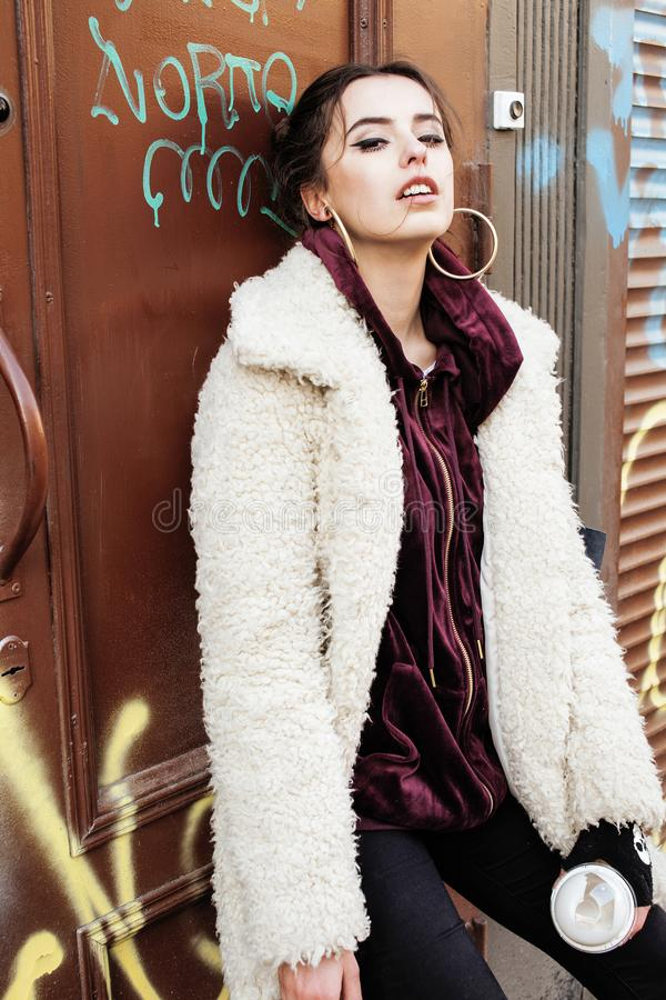 Free Young Pretty Stylish Teenage Girl Outside In City Wall With Graf Royalty Free Stock Images - 101710739
