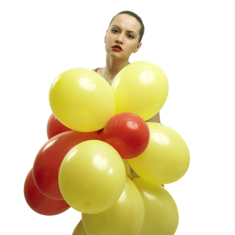 Download Young Pretty Woman With Balloons Stock Image - Image: 9500231