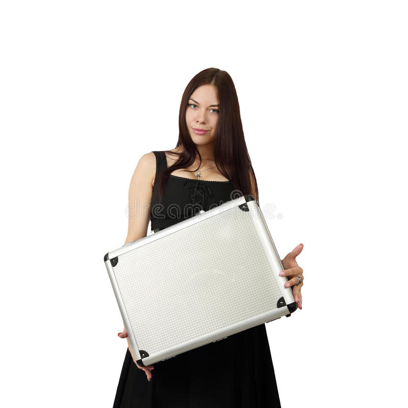 Young pretty woman with case in hands stock images