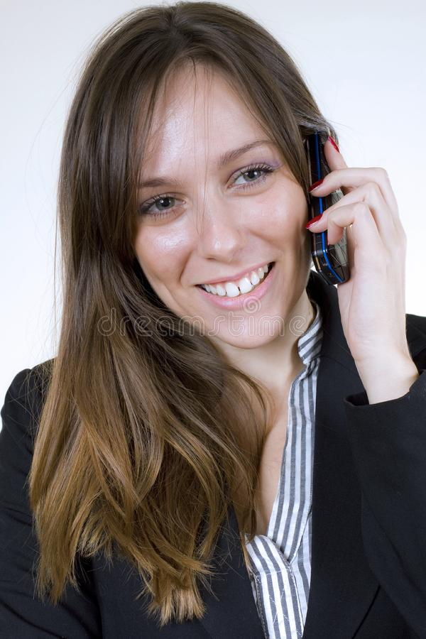 Download Young Pretty Woman With Cellphone And Big Smile Stock Image - Image of lady, young: 7013243