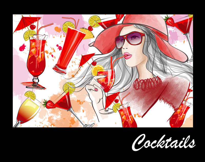 Young pretty woman with hat having a cocktail royalty free illustration