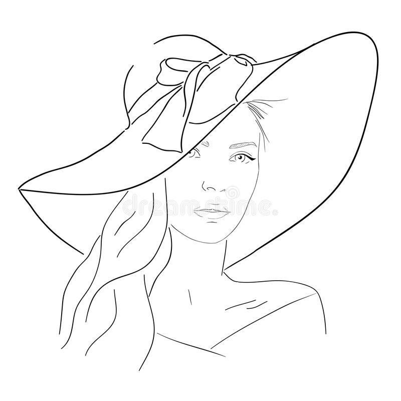 Young pretty woman in hat line portrait. Romantic outline sketch. Young pretty woman line portrait. Hand drawn elegance girl in hat. Romantic lady outline sketch vector illustration
