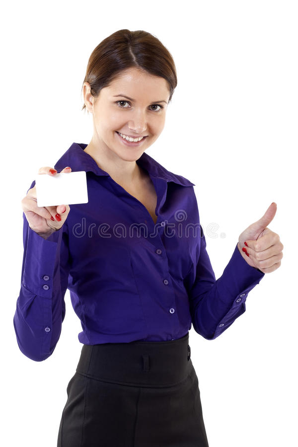 Download Young Pretty Woman Holding Blank Business Card Stock Photo - Image: 18187592