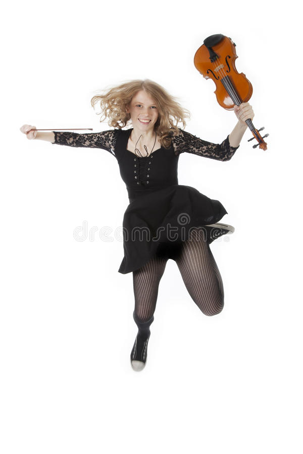 Young Pretty Woman Jumping With Violin Stock Photos