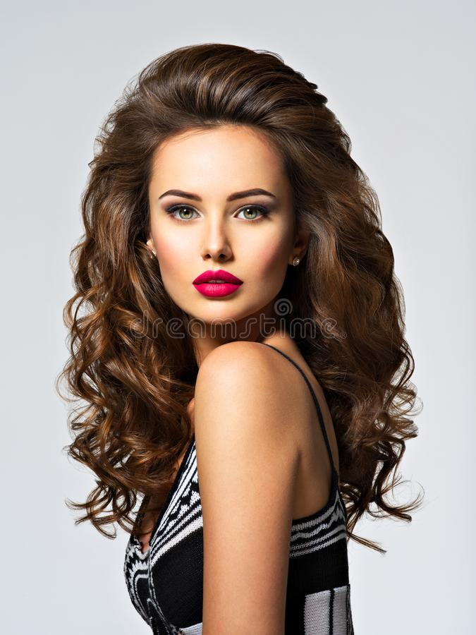 Young pretty woman with long hair stock image