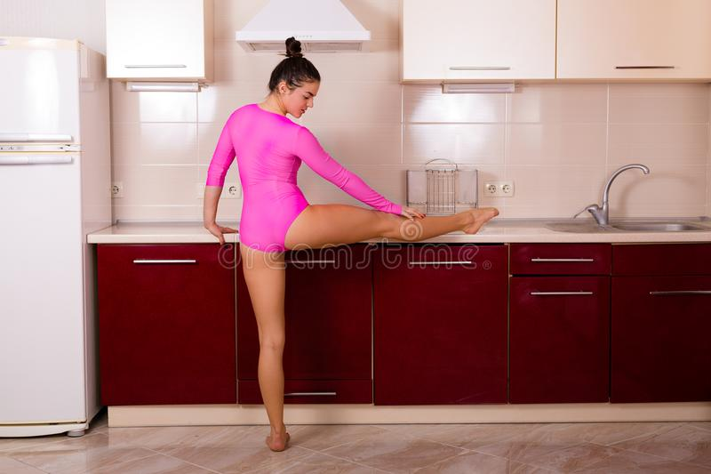 Woman stretching at home royalty free stock images