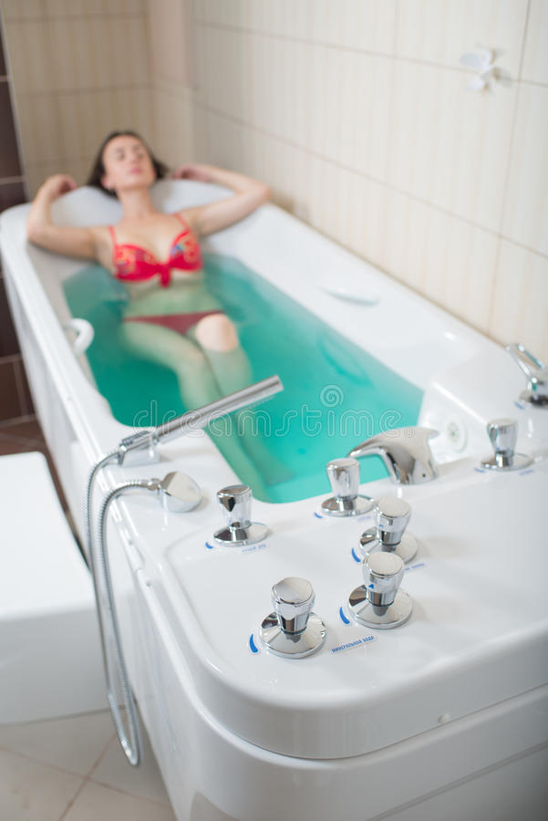 Young Pretty Woman Takes Mineral Baths Stock Photo - Image of close ...