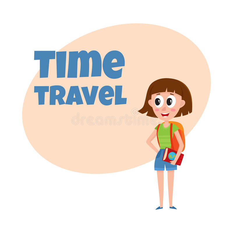 Young pretty woman, tourist with backpack and guide on tour vector illustration