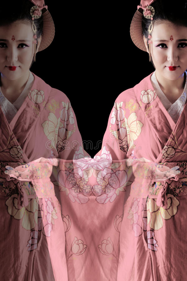 Young pretty woman wearing kimono. Double exposure image royalty free stock images