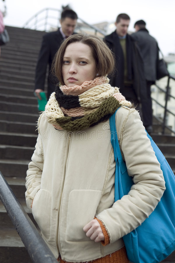 Young pretty woman in winter time stock images