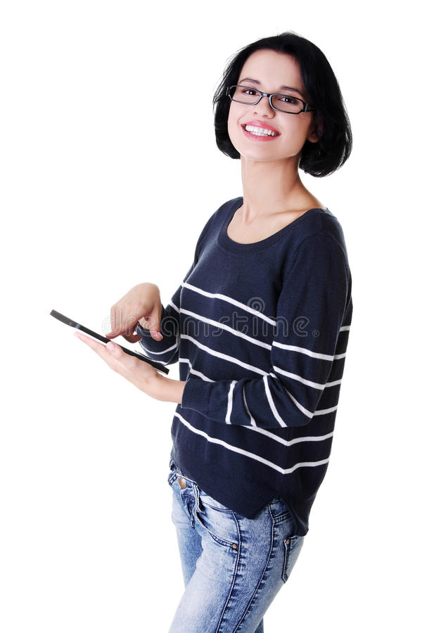 Download Young Pretty Woman Working On Tablet Computer Stock Photo - Image: 27729440