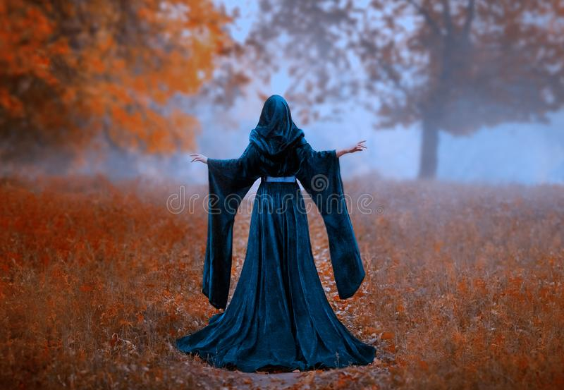 Young priestess holds a secret rite of sacrifice, is alone in the autumn forest on a large glade. the escaped queen wore. A blue velvet cloak-dress with wide royalty free stock image