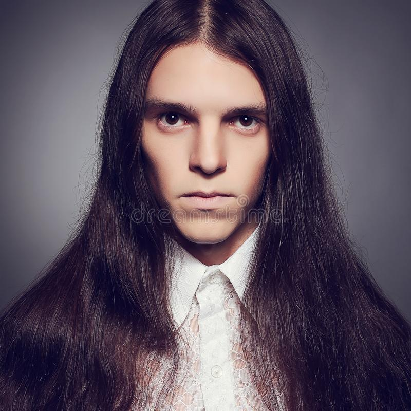 Young prince concept. Old fashioned portrait of gothic man. stock image