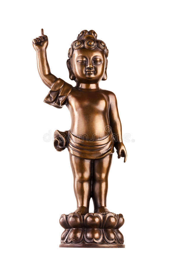Young prince Siddhartha Gautama on a lotus flower. The figure made of metal isolated on a white background stock image