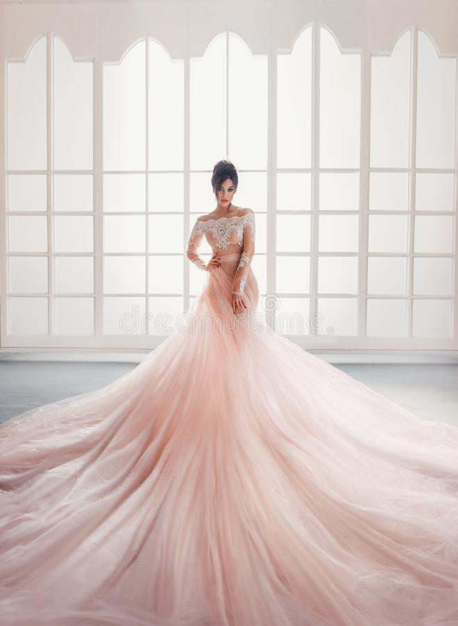 A young princess in an expensive, luxurious dress with a long train stands against the background of a vintage, high. Window. Interior in the style of a loft royalty free stock photography