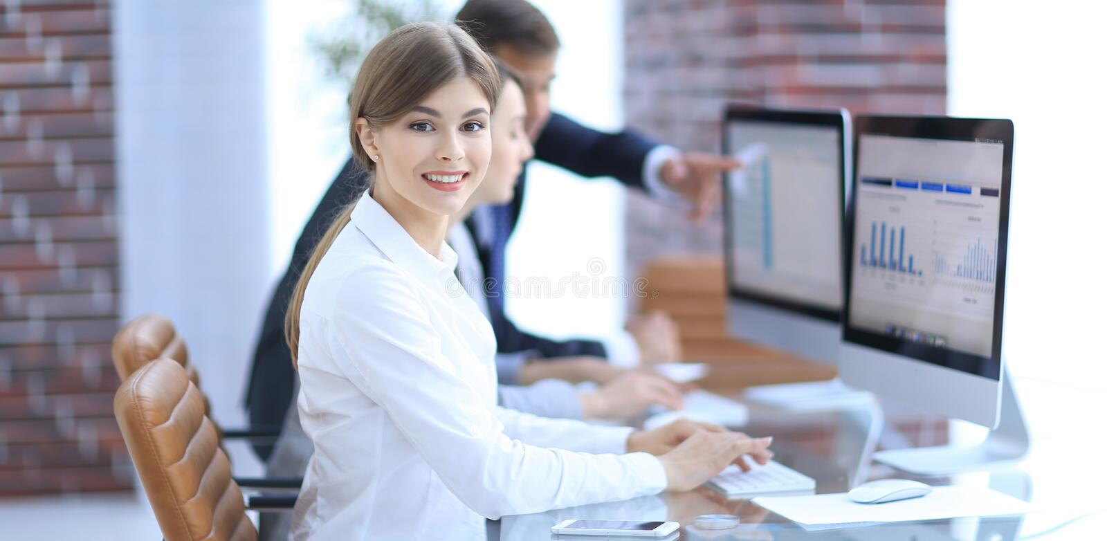 Young professional and business team discussing financial data. stock images