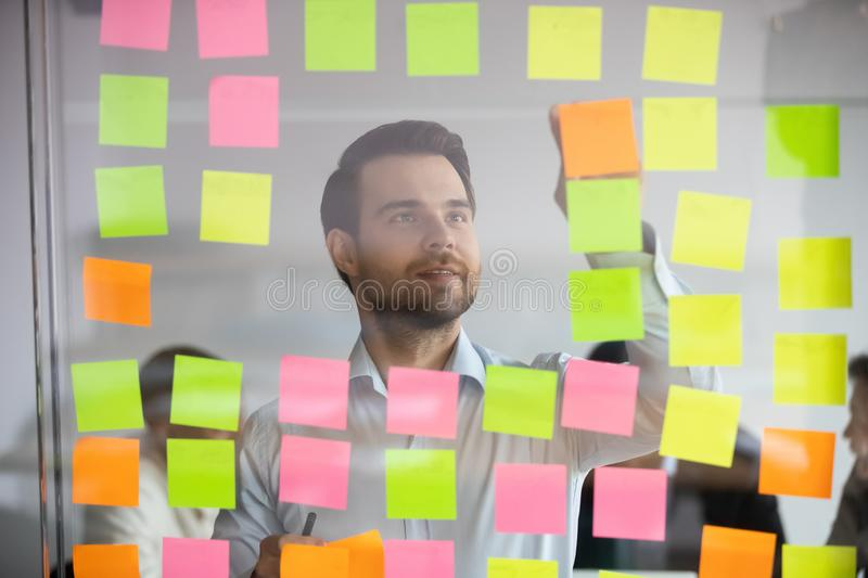 Young professional busy with project planning on kanban board. Head shot young professional busy with project planning on kanban board. Successful focused male royalty free stock images