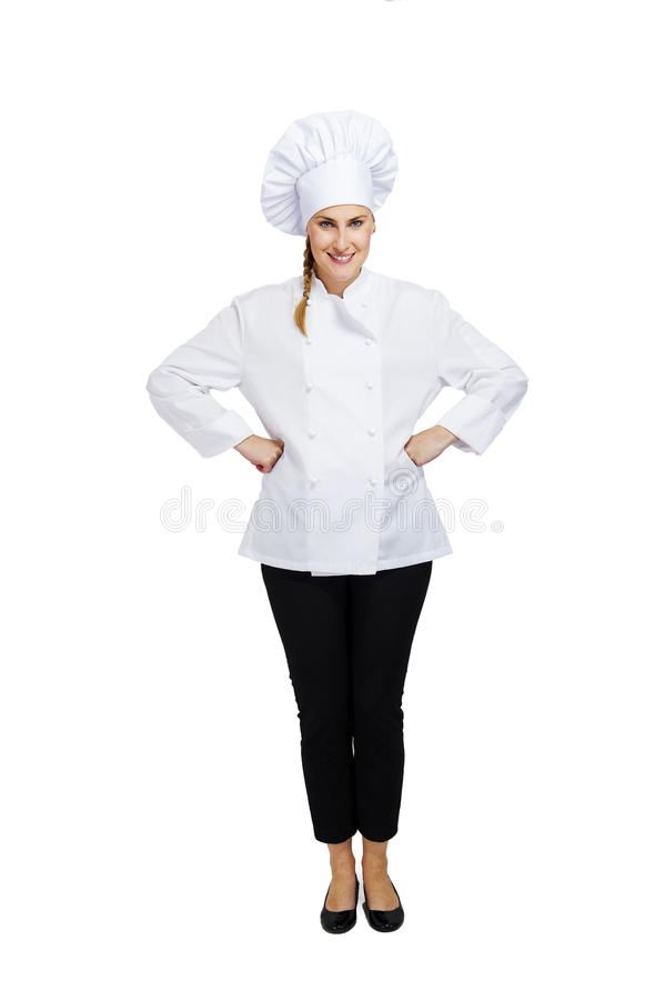 Young professional chef woman. Isolated over white background stock photography