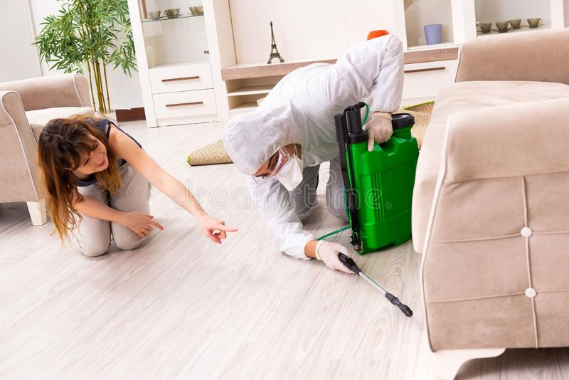 The young professional contractor doing pest control at flat. Young professional contractor doing pest control at flat stock image