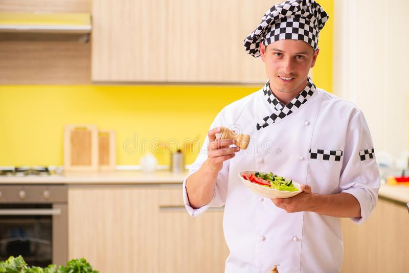 The young professional cook preparing salad at kitchen stock image