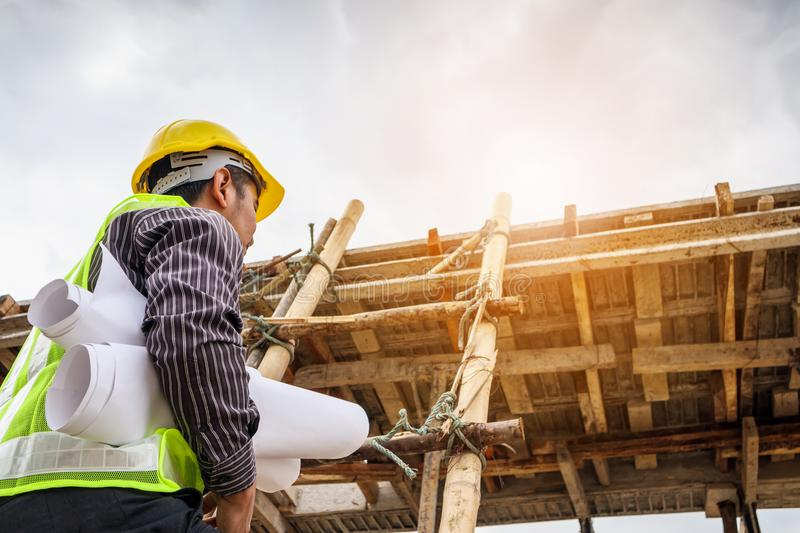 professional engineer worker at the house building site stock images